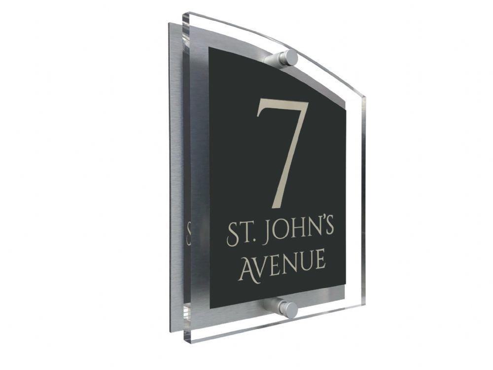 Arc Shape - Clear Acrylic House Sign - Anthracite Colour with Double Cream text in Font  1